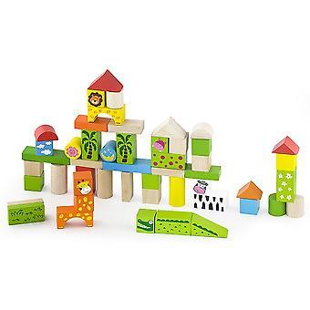 Viga Toys Holzblöcke Zoo