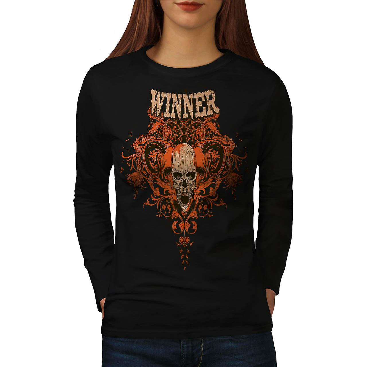 Winner Metal Goth Skull Women Black Long Sleeve T-shirt | Wellcoda