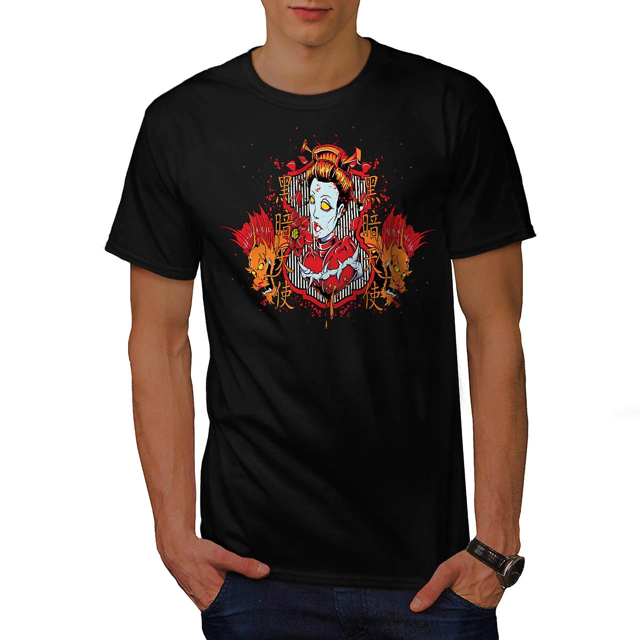 Oriental Zombie Fear Devil Woman Men Black T-shirt | Wellcoda