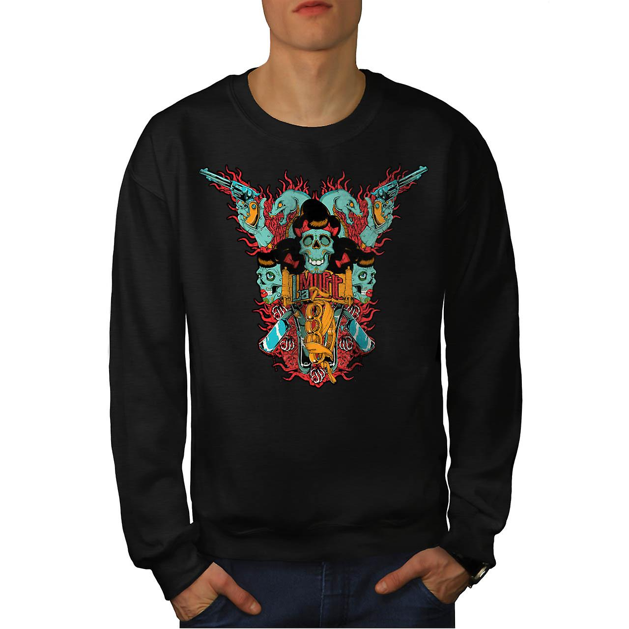 Skull Blade Monster Gang Fight Men Black Sweatshirt | Wellcoda