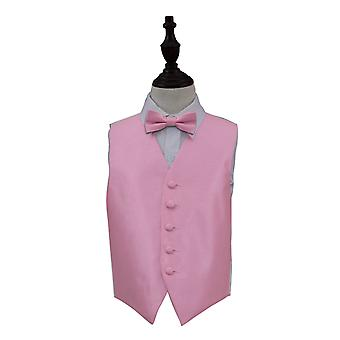 Boy's Light Pink Solid Check Wedding Waistcoat & Bow Tie Set