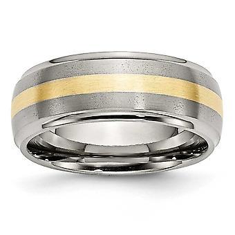 Titanium Brushed Polished Engravable 14k Gold Inlay 8mm Brush/Polish Band - Ring Size: 8 to 14