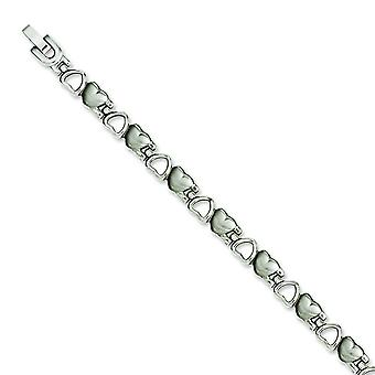 Stainless Steel Satin and Polished Hearts 8.25in Bracelet