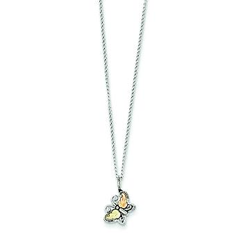 Sterling Silver and 12k Butterfly Necklace - 18 Inch