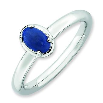 2.25mm Sterling Silver Prong set Rhodium-plated Stackable Expressions Lapis Polished Ring - Ring Size: 5 to 10
