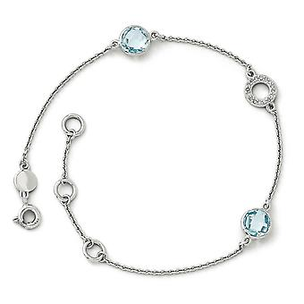 Sterling Silver White Ice Blue Topaz en.05 Ct Diamond Bracelet -.05 dwt 2.10 cwt - 7,25 Inch