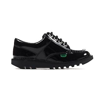Kickers Classic Kick Lo Patent Leather Junior Girls School Shoe Black