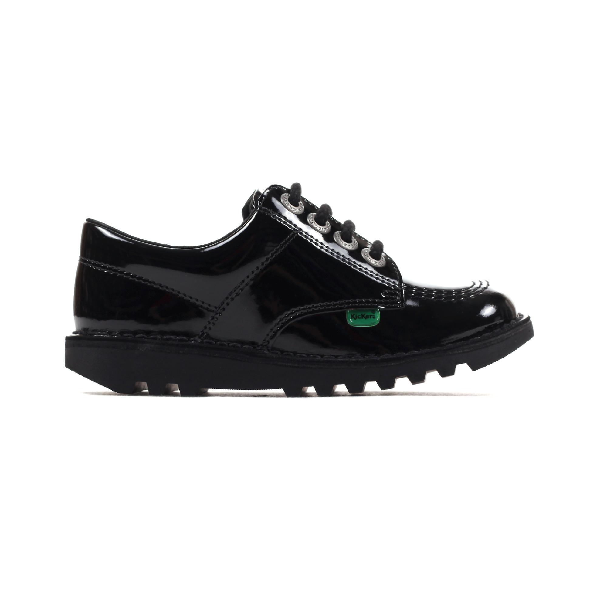 Kickers Classic Kick Lo Patent Leather Junior Girls School Shoe Black