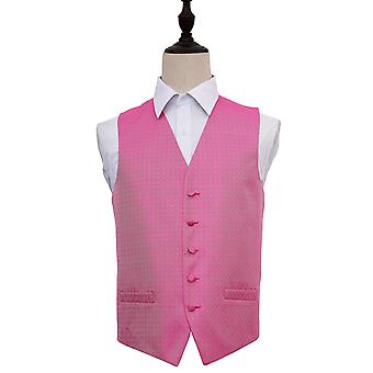 Fuchsia Pink Greek Key Patterned Wedding Waistcoat