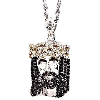 Iced out bling religion Jesus pendant - CLOSED EYES silver
