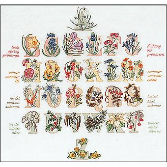 Floral Alphabet On Aida Counted Cross Stitch Kit-23.5