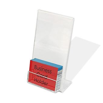 Acrylic DL Literature Holder with Business Card Pocket - Portrait