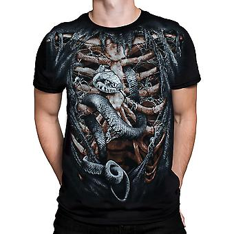 Wild Star Hearts - BONE CAGE - Mens T-Shirt