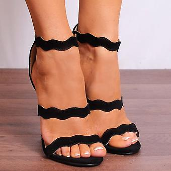 Koi Couture Ankle Strap Heels - Ladies Ed43 Black Ankle Strap Stilettos Peep Toes Strappy Sandals High Heels