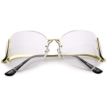 Oversize Beveled Butterfly Rimless Round Glasses Curved Metal Arms Clear Lens 60mm