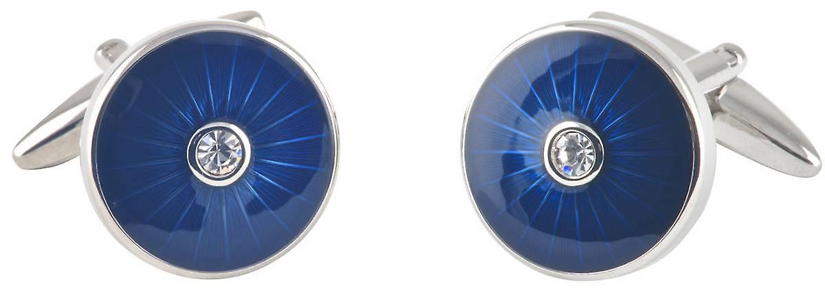 David Van Hagen Epoxy Circle Crystal Cufflinks - Blue/Silver