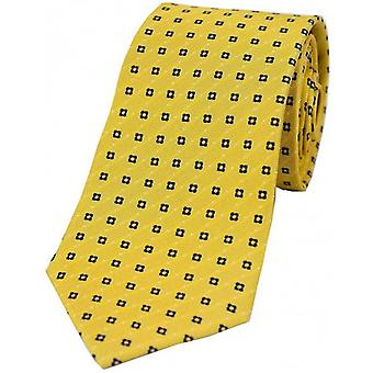 David Van Hagen Neat Box Pattern Silk Tie - Mustard/Navy