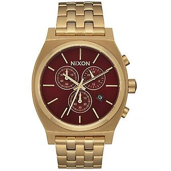 Nixon Time Teller Chrono Watch - Gold/Deep Burgund