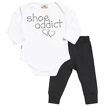 Spoilt Rotten Shoe Addict Babygrow & Jersey Trousers Outfit Set