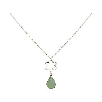 Ladies - necklace - charms - 925 Silver - Lotus Flower - mandala - chalcedony - drops - green - YOGA - 45 cm