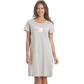 Camicia da notte orso polare grigio Womens Camille