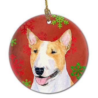 Bull Terrier Red Snowflakes Holiday Christmas Ceramic Ornament SS4703