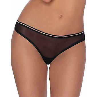 Roza Women's Lica Black Sheer Panty Thong
