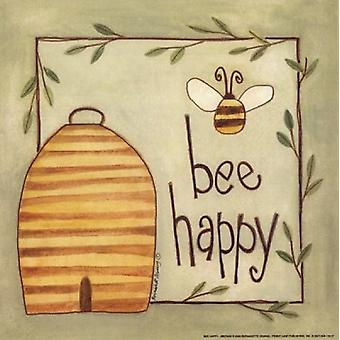 Bee Happy Poster Print by Bernadette Deming (8 x 8)