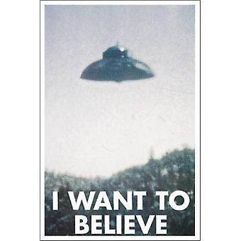 I Want to Believe Flying saucer Poster Poster Print