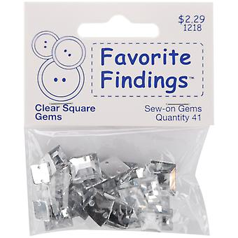 Favorite Findings Sew On Square Gems Clear 41 Pkg 55000Sqg 1218