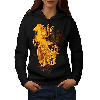 Pegasus Freiheit Kunst Frauen BlackHoodie | Wellcoda
