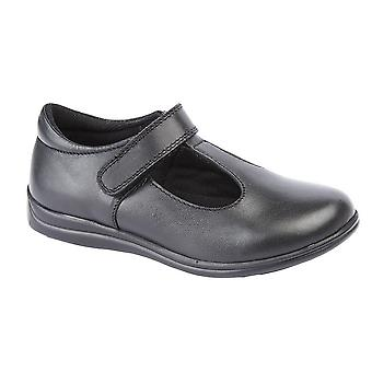 Roamers Childrens Girls Touch Fastening T-Bar Leather School Shoes