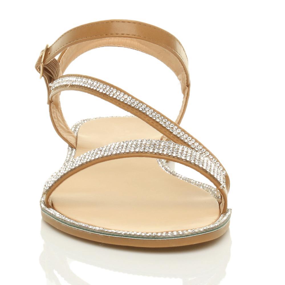 womens trim summer sandals strappy shoes flat evening diamante buckle Ajvani d6q1HXd