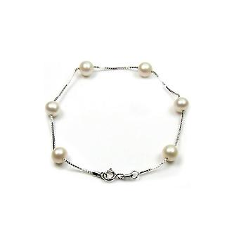 Bracelet woman in white culture of freshwater pearls and Silver 925/1000