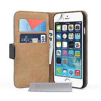 Caseflex Iphone 6 i 6s prawdziwe skórzane etui portfel - czarny