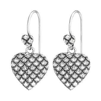Double Heart - 925 Sterling Silver Plain Earrings