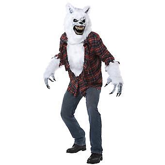 Vita Lycan varulven Wolfman stora stygga vargen män kostym