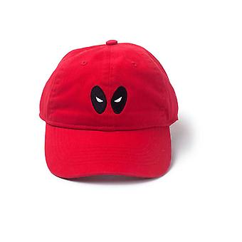 Marvel Comics Deadpool Embroidered Eyes Stone Washed Denim Dad Cap Red