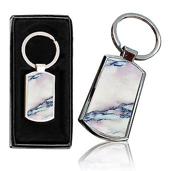 i-Tronixs - Premium Marble Design Chrome Metal Keyring with Free Gift Box (1-Pack) - 0052
