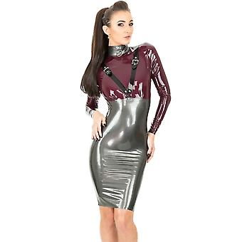 Dom Paramour Dress. Pearl Sheen Pewter With Aubergine Trim.