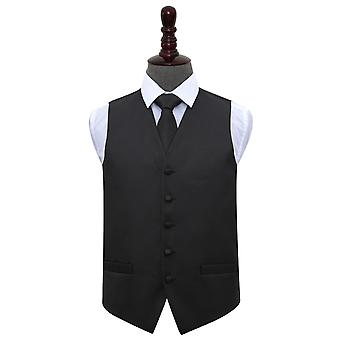 Black Greek Key Wedding Waistcoat & Tie Set