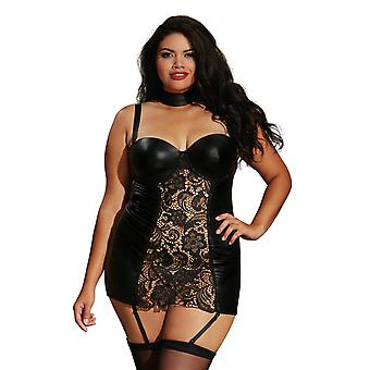Curvy Plus Size Collared Faux Leather Venice Lace Garter Slip