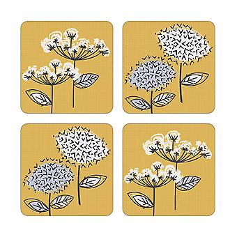 Cooksmart Pack of 4 Retro Meadow Coasters