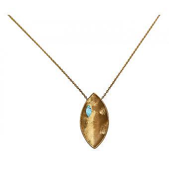 Gemshine - Damen - Halskette - Anhänger - 925 Silber - Vergoldet - Marquise - Minimalistisch - Design - Topas - Blau - 45 cm