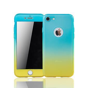 Apple iPhone 8 Handy-Hülle Schutz-Case Full-Cover Panzer Schutz Glas Blau / Gelb