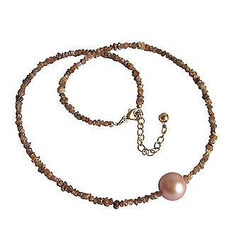Rose - 45 cm Pearl ladies necklace - diamond - champagne - bronze - - salmon-