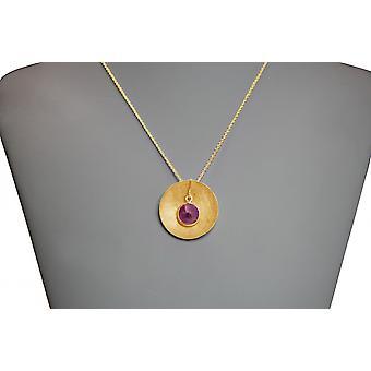 Damen - Halskette - Anhänger - 925 Silber - Vergoldet - SCHALE - Rubin - Rot - 45 cm