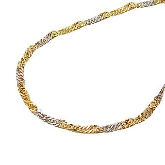 Chain 50 cm 1, 8 mm Singapore of bicolor 9Kt GOLD