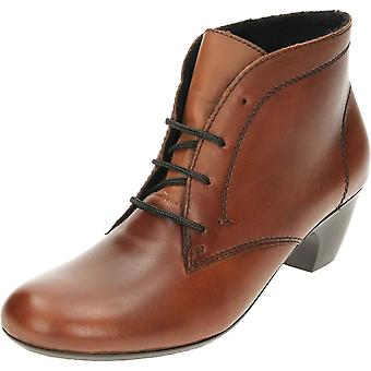 Rieker Leather Lace Up Heeled Ankle Boots 70510-22 Brown