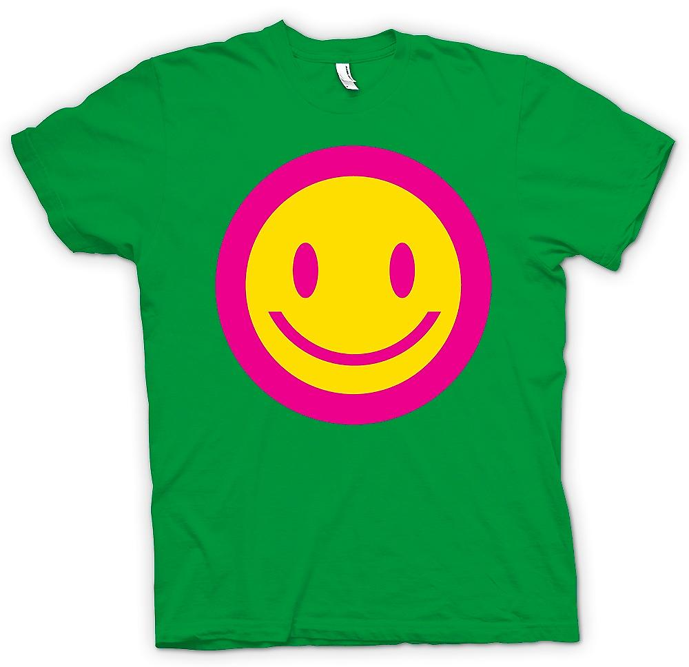 Mens T-shirt - Rosa Smiley-Gesicht - Säure Kinder